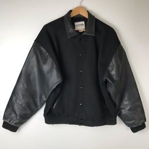 Vintage Leather and Wool Varsity Bomber Jacket